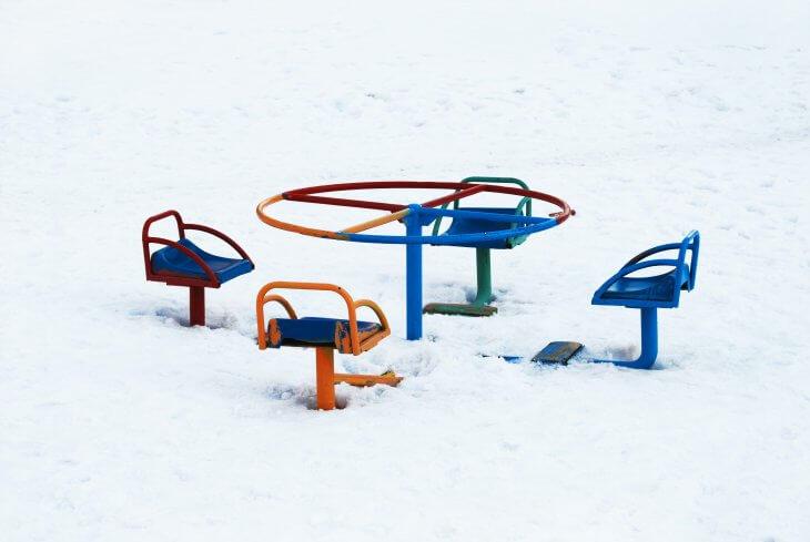 Eine zugeschneite Spielfläche